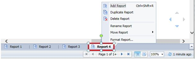 working with report tabs